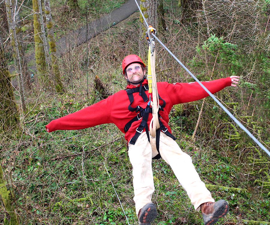 David D. Hunter, certified arborist, ziplining